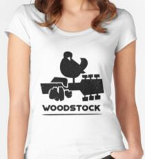 'White Dove on a Guitar' Cool Vintage Guitar Gift Women's Fitted Scoop T-Shirt