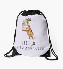 Funny Giraffe Holding a Stack of Books - Lets Go On An Adventure - Book Lover Gift, Phones Cases And Other Gift Drawstring Bag