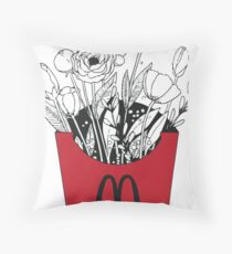 Flowers in McDonalds fries pack Throw Pillow