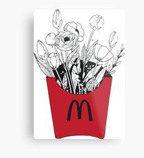 Flowers in McDonalds fries pack Metal Print