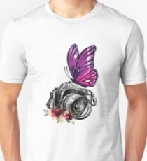 CAMERA AND BUTTERFLY VINTAGE PHOTOGRAPHER SHIRT Unisex T-Shirt