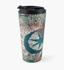 Green Moon Mountain Hearts Batik  Travel Mug