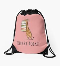 Funny Giraffe Holding a Stack of Books - library Rocks - Book Lover Gift, Phones Cases And Other Gift Drawstring Bag