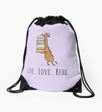 Funny Giraffe Holding a Stack of Books - Live. Love. Read. - Book Lover Gift, Phones Cases And Other Gift Drawstring Bag