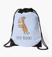 Funny Giraffe Holding a Stack of Books - Love Books - Book Lover Gift, Phones Cases And Other Gift Drawstring Bag