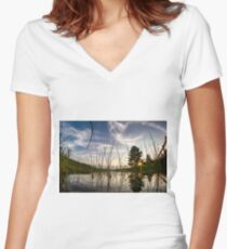 Sunset from the reeds  Women's Fitted V-Neck T-Shirt