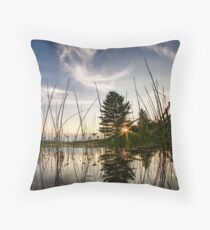 Sunset from the reeds  Throw Pillow