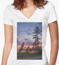 Tall pines sunset  Women's Fitted V-Neck T-Shirt