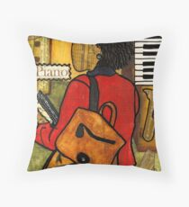 The Piano Lady Throw Pillow