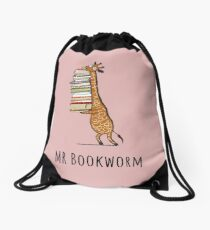 Funny Giraffe Holding a Stack of Books - Mr Bookworm - Book Lover Gift, Phones Cases And Other Gift Drawstring Bag