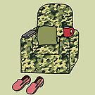 Happy Retirement from the Army Cartoon Camouflage Chair by KateTaylor