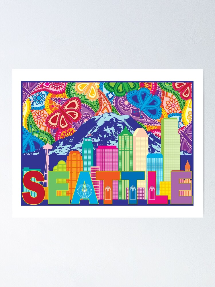 Seattle Wa Outline Silhouette With City Skyline And Mt Rainier On Colorful Paisley Pattern Background Drawing Poster By Jpldesigns Redbubble