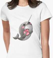 Cute Narwhal with donut Women's Fitted T-Shirt