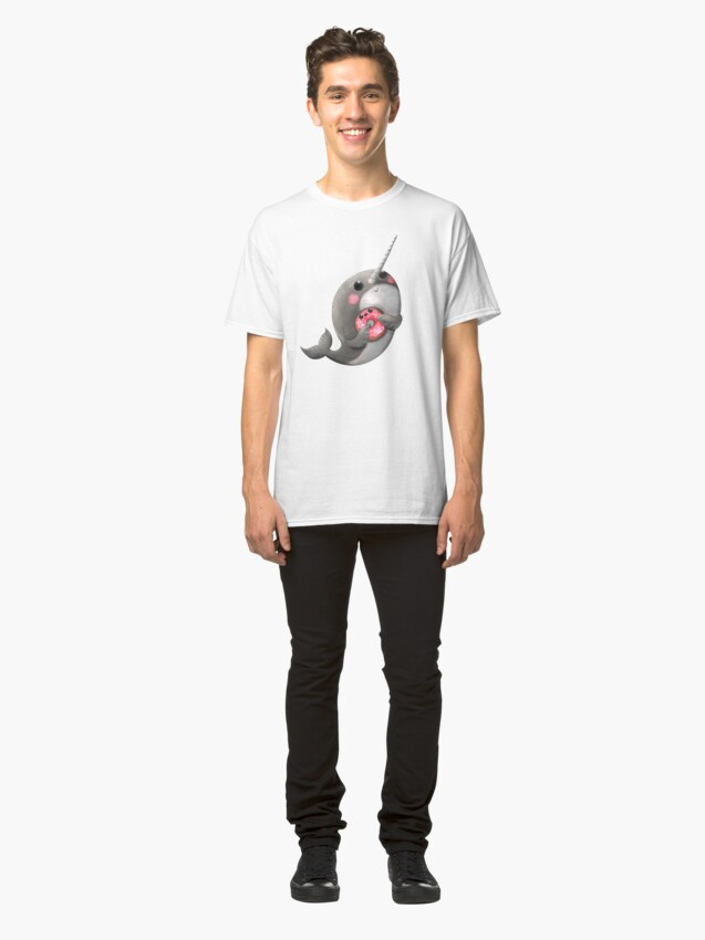 Alternate view of Cute Narwhal with donut Classic T-Shirt
