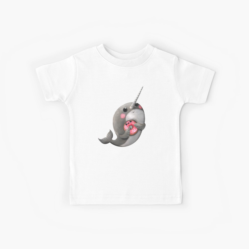 Cute Narwhal with donut Kids T-Shirt