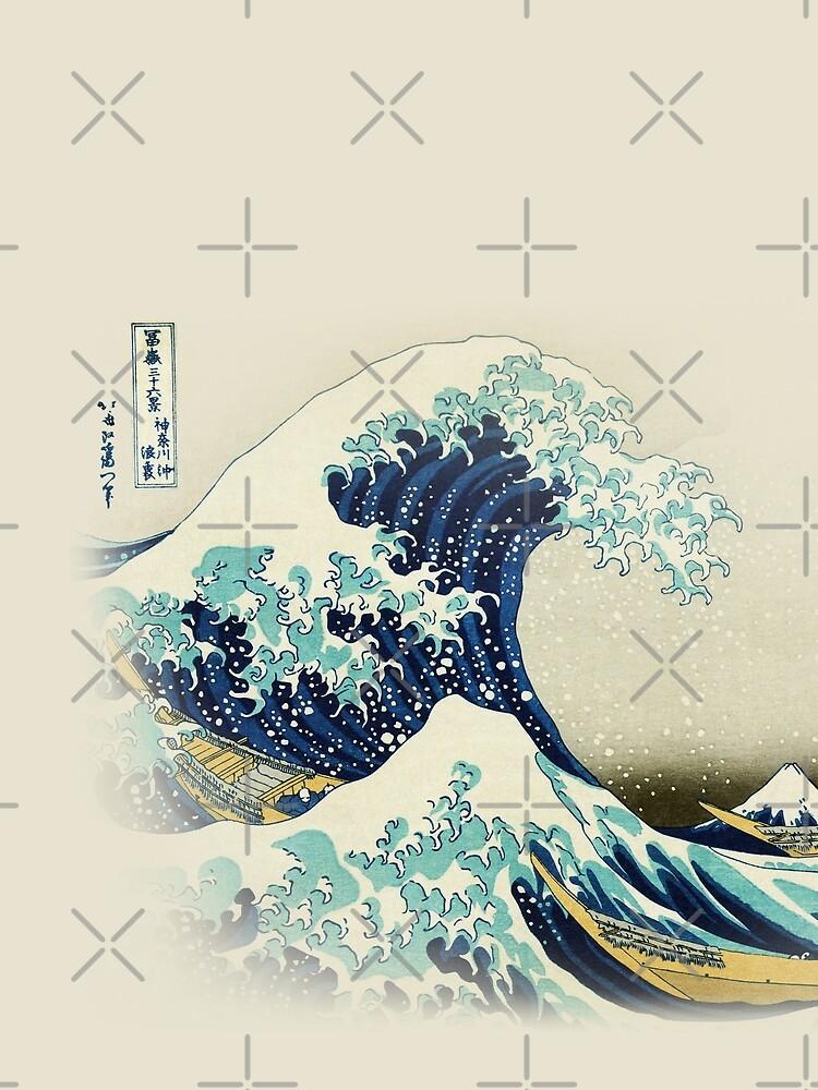 Die große Welle vor Kanagawa vom japanischen Ukiyo-e-Künstler Hokusai beige natürlicher Hiroshige-organischer beige Sahnehintergrundnaturmalerei HD HOHE QUALITÄT von iresist
