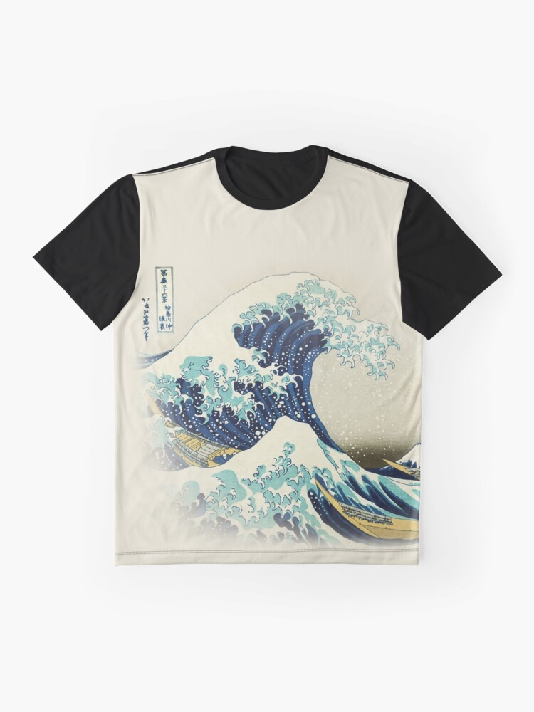 Alternative Ansicht von Die große Welle vor Kanagawa vom japanischen Ukiyo-e-Künstler Hokusai beige natürlicher Hiroshige-organischer beige Sahnehintergrundnaturmalerei HD HOHE QUALITÄT Grafik T-Shirt