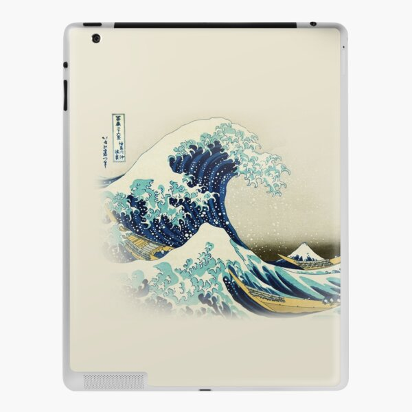 The Great Wave off Kanagawa by Japanese ukiyo-e artist Hokusai beige natural Hiroshige organic beige cream background nature painting HD HIGH QUALITY iPad Skin