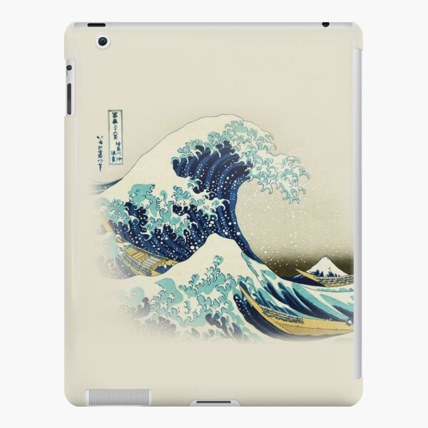 The Great Wave off Kanagawa by Japanese ukiyo-e artist Hokusai beige natural Hiroshige organic beige cream background nature painting HD HIGH QUALITY iPad Snap Case