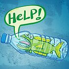Fish inside a plastic bottle asking for help by Zoo-co