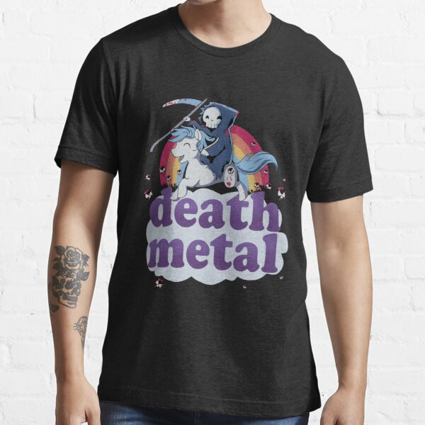 'Death Metal' - The Grim Reaper Riding a Unicorn in Front of a Rainbow Design! Essential T-Shirt