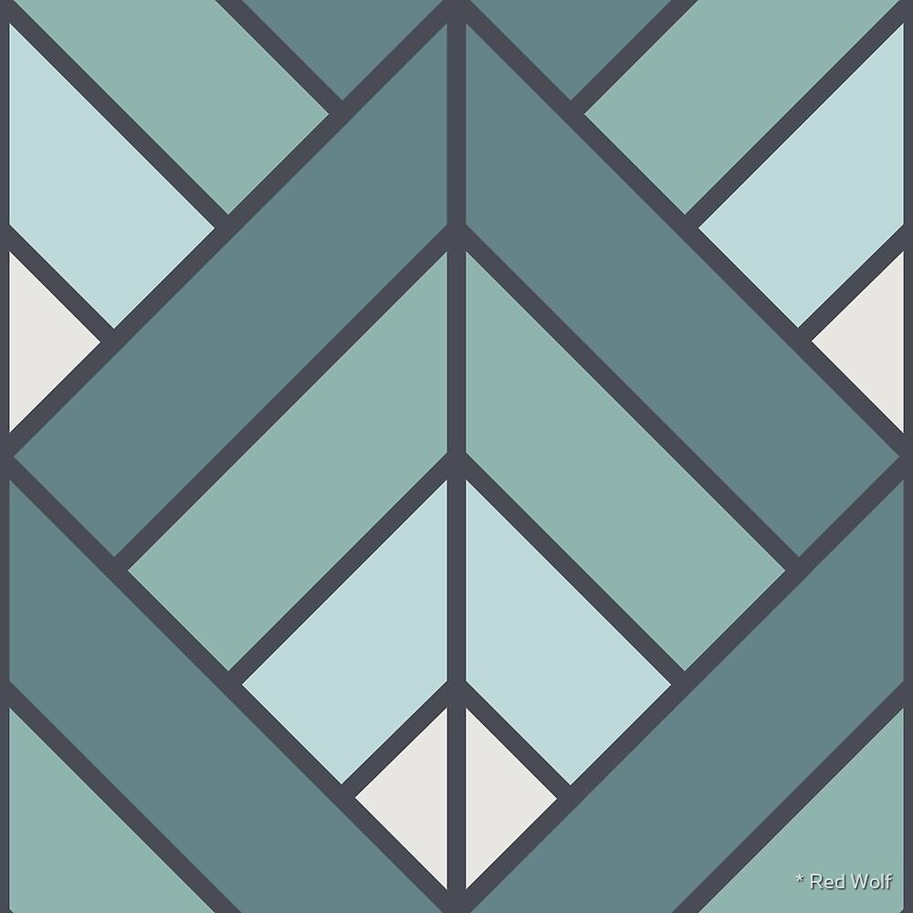 Geometric Pattern: Art Deco Diamond: Seafoam by * Red Wolf