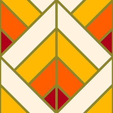 Geometric Pattern: Art Deco Diamond: Sunset by redwolfoz