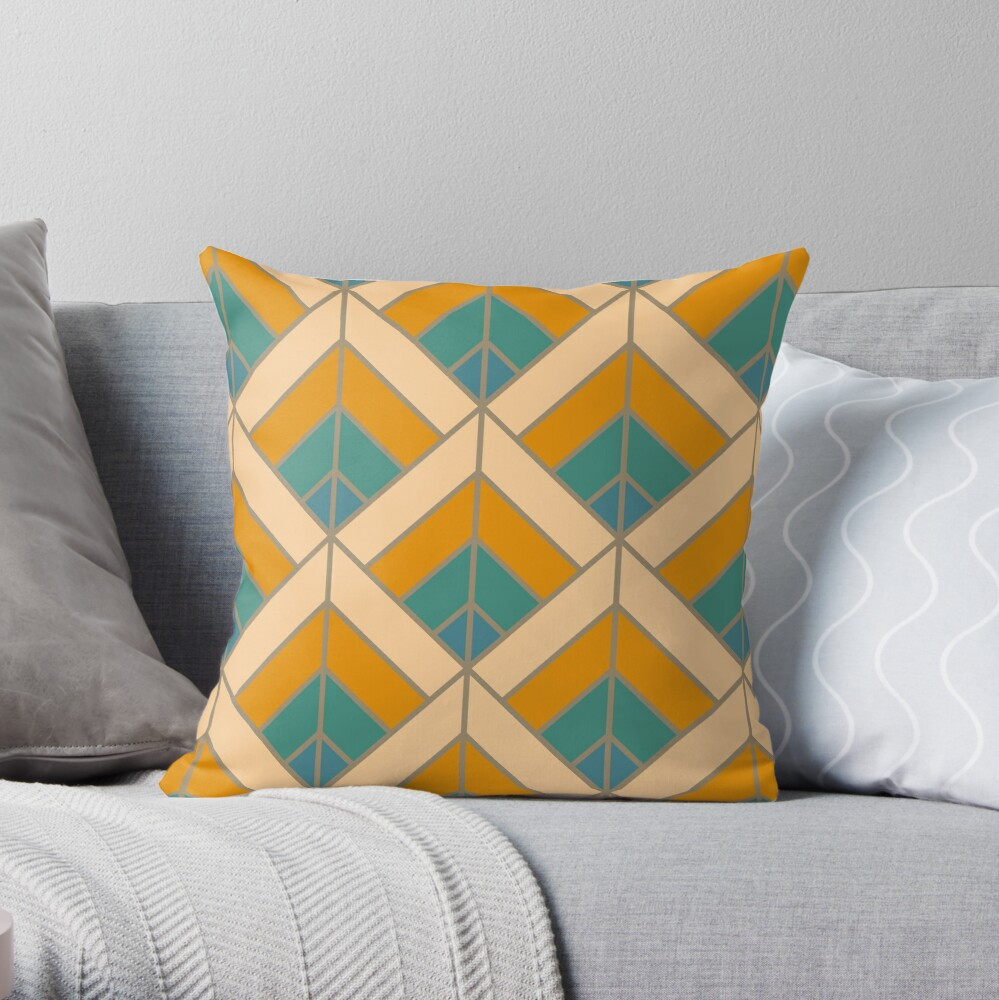 Geometric Pattern: Art Deco Diamond: Lily Throw Pillow