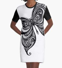 Black and White Illustration of Exotic Butterfly Graphic T-Shirt Dress