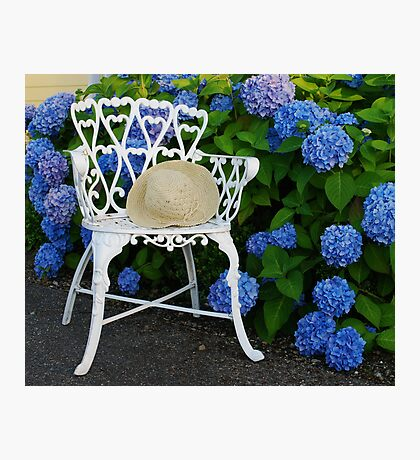 Straw hat, blue Hydrangeas and a Patio chair Photographic Print