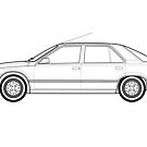 Renault 25 Classic Car Outline Artwork by RJWautographics