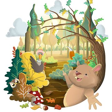 Cute forest animal illustration by creaschon