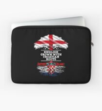 English Grown With Croatian Roots Gift For Croatian From Croatia - Croatia Flag in Roots Laptop Sleeve