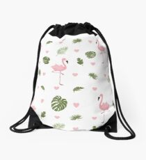 Pink Flamingo * Summer Stylish seamless pattern Drawstring Bag