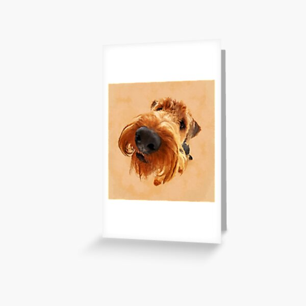 Funny  Airedale Terrier  Digital Art Greeting Card