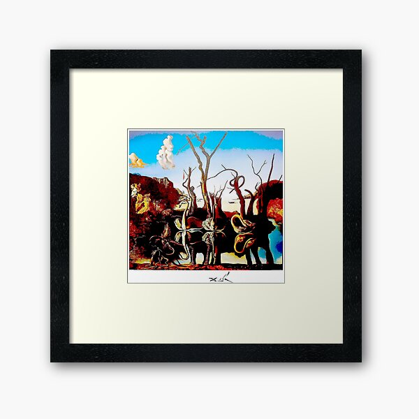 SWANS REFLECTING ELEPHANTS : Vintage Abstract Dali Painting Print Framed Art Print
