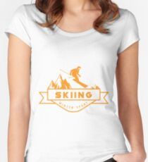 Skiing Women's Fitted Scoop T-Shirt