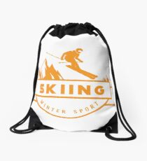 Skiing Drawstring Bag