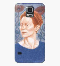 Funda/vinilo para Samsung Galaxy Retrato de Tilda Swinton con amapolas celtas