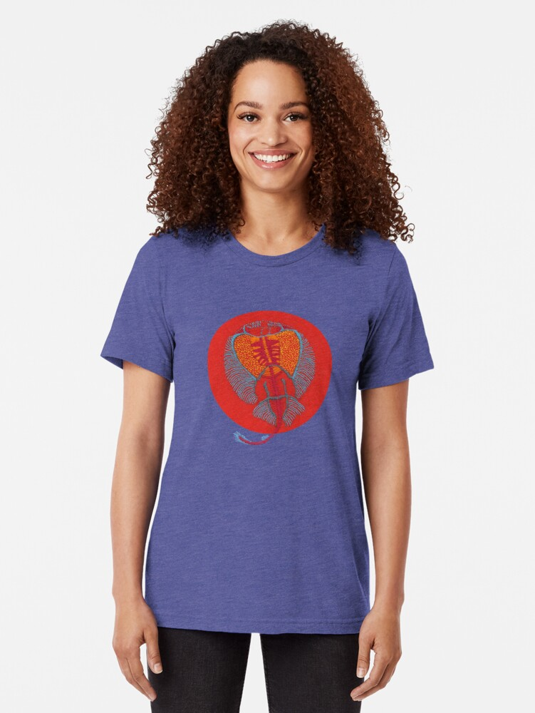 Alternate view of Stitches: Electric ray Tri-blend T-Shirt