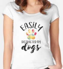Easily Distracted By Dogs Women's Fitted Scoop T-Shirt