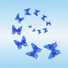 Butterflies Are Free To Fly Monochrome Light Blue by Roanemermaid
