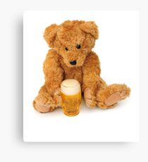 Bear with his pint Canvas Print