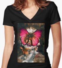 Marylin Monroe Butterfly  Women's Fitted V-Neck T-Shirt