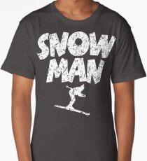 Snowman Ski Skier Skiing Long T-Shirt
