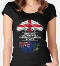 English Grown With Virgin Islander Roots Gift For Virgin Islander From British Virgin Islands - British Virgin Islands Flag in Roots Women's Fitted Scoop T-Shirt