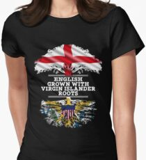English Grown With Virgin Islander Roots Gift For Virgin Islander From Us Virgin Islands - Us Virgin Islands Flag in Roots Women's Fitted T-Shirt