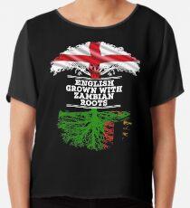 Englisch angebaut mit Sambian Roots Geschenk für Sambian von Sambia - Sambia Flag in Wurzeln Chiffontop