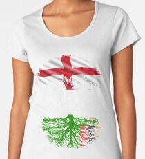Englisch angebaut mit Sambian Roots Geschenk für Sambian von Sambia - Sambia Flag in Wurzeln Premium Rundhals-Shirt