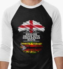 Englisch angebaut mit simbabwischen Wurzeln Geschenk für Simbabwe von Simbabwe - Simbabwe Flagge in Wurzeln Baseballshirt für Männer